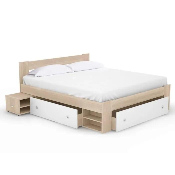 lit adulte 140x190cm avec tiroir melamine bois blanc sans sommier lina
