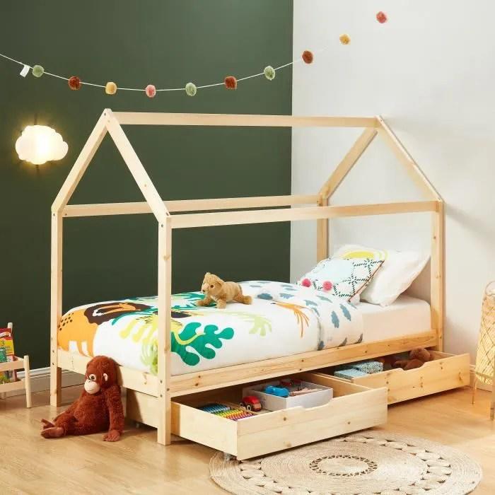 tiny lit enfant cabane a tiroirs bois massif de pin naturel sommier inclus 90x190cm