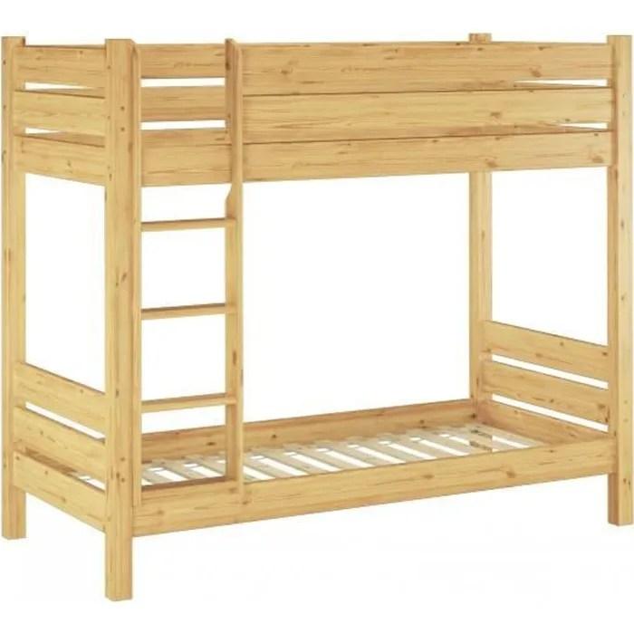 60 16 08 190 lit superpose extra stable pin massif 80x190 pour enfants et adultes y compris sommiers a lattes en bois hauteur de