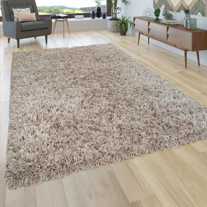 tapis de salon beige poils longs shaggy fil colore