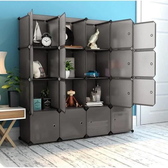 langria 16 cabines armoires etageres plastique meuble de rangement avec portes marron