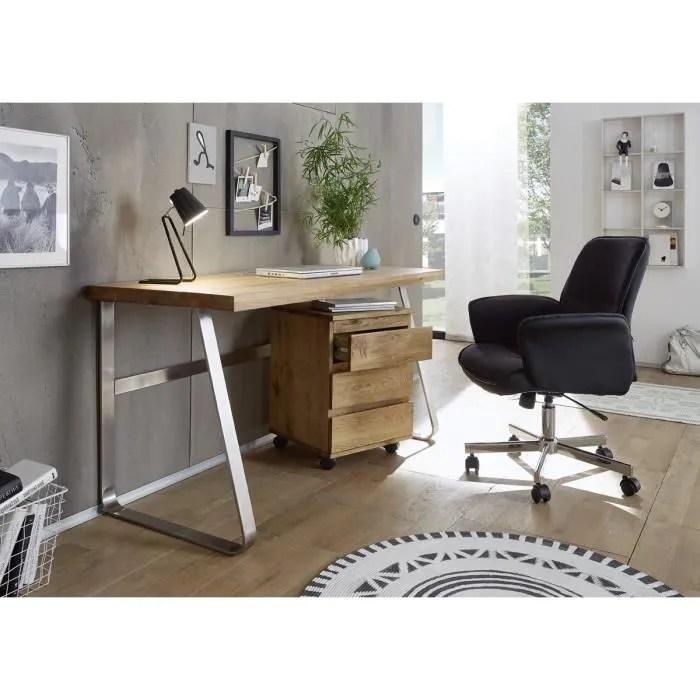bureau en chene massif avec pietement en acier l140 x h75 x p60 cm