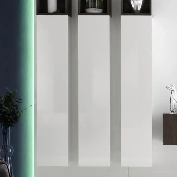 vente meuble tv mural colonne blanche