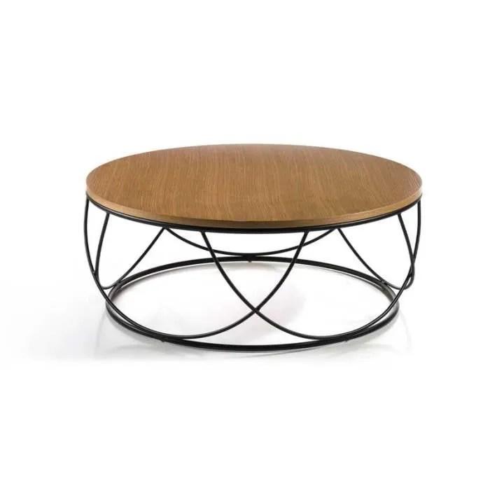 table basse ronde chene metal noir napier l 80 x l 80 x h 30