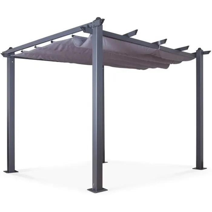 tonnelle pergola aluminium 3x3m toile coulissante