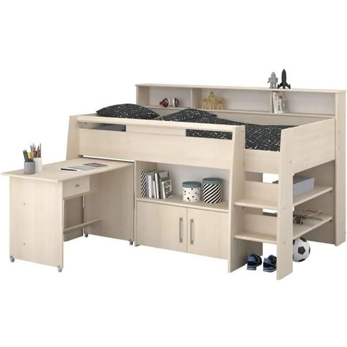 dave lit combine enfant avec bureau contemporain decor chene acacia clair sommier inclus l90 x l200 cm