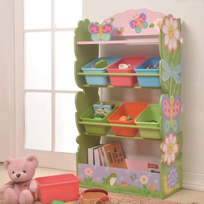 meuble de rangement a jouets avec bacs bois fantaisie jardin magique td 12710a rose