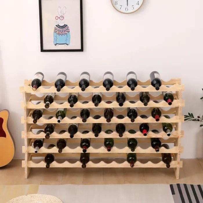 casier a bouteille modulable etagere a vin pour 72 bouteilles support en bois de pin 119 x 29 x 71 5 cm