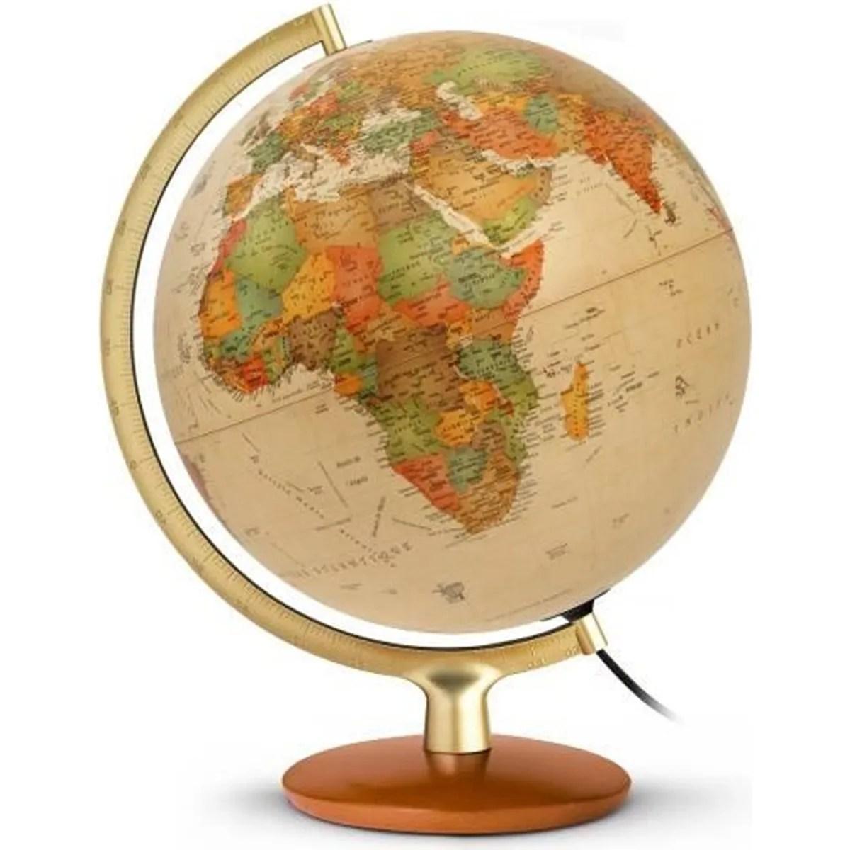 globe terrestre lumineux 30 cm premium antique