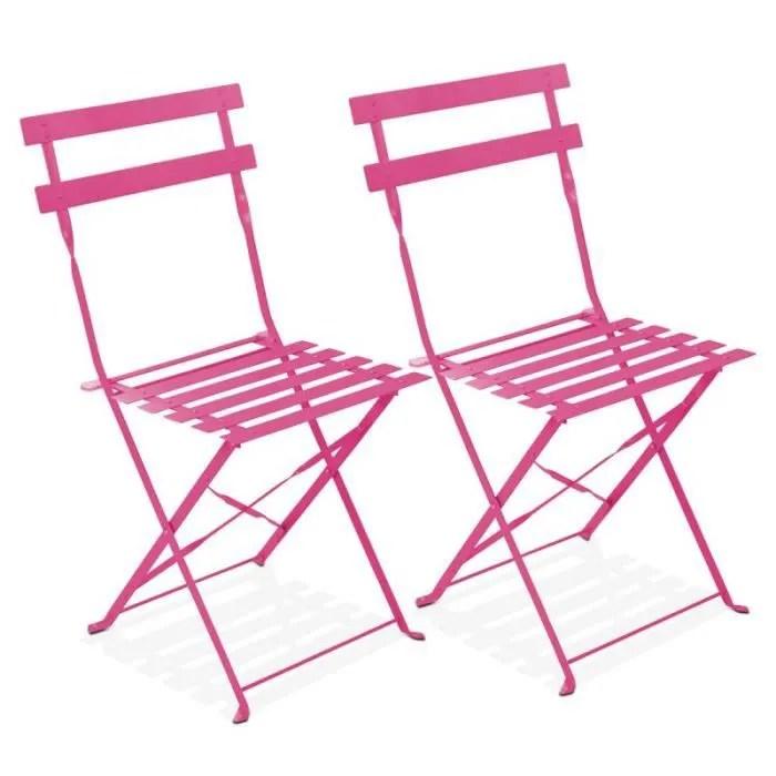 lot de 2 chaises pliantes bistrot pour jardin et terrasse