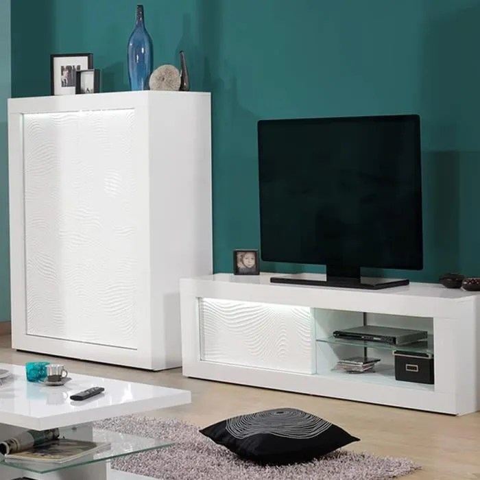 meuble tv blanc laque design karl blanc l 170 x p