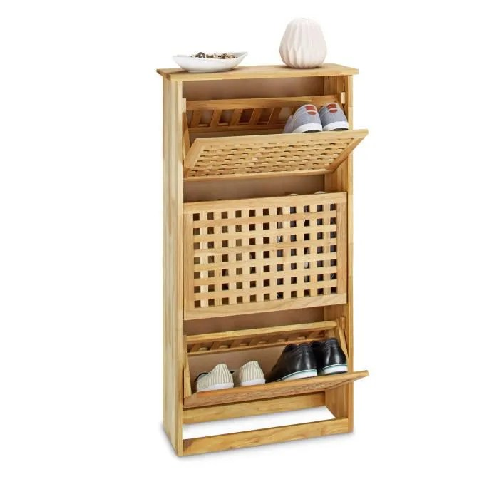 relaxdays meuble a chaussures haut en bois de noyer etagere a chaussures 3 compartiments pivotants h l p 104 3 x 55 x 20 2 cm