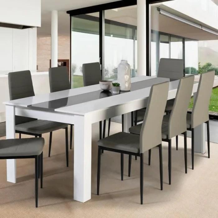 table a manger georgia 8 personnes blanche et gris