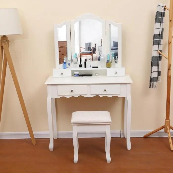 Mixmest Table De Maquillage Avec Miroir A 3 Volets 4 Tiroirs Et 1 Tabouret Style Moderne Achat Vente Coiffeuse Mixmest Table De Maquillage Soldes Sur Cdiscount Des Le 20 Janvier Cdiscount