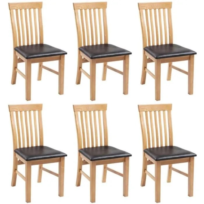 lot de 6 chaises a diner bois de chene massif et similicuir design moderne