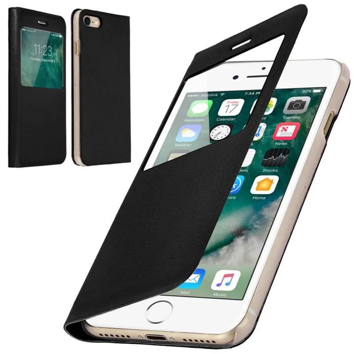 coque iphone 8 plus rabat clapet fenetre noir