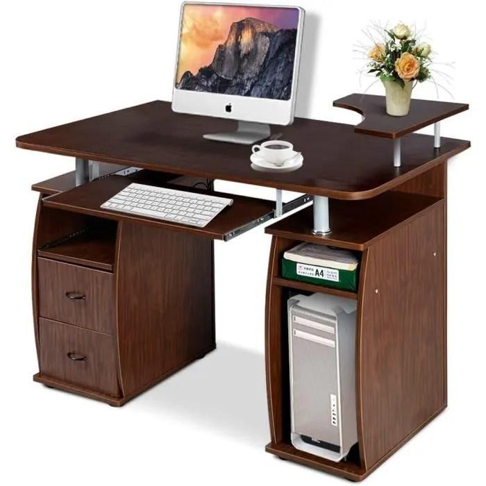 costway bureau informatique multimedia meuble de bureau pour ordinateur avec tablette imprimante tablette a clavier 2 tiroirs