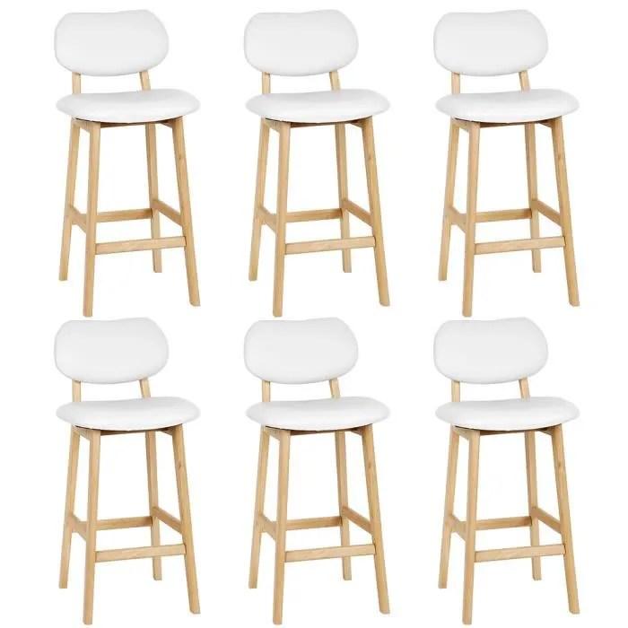 lot de 6 chaises de bar blanche simple de haute qu