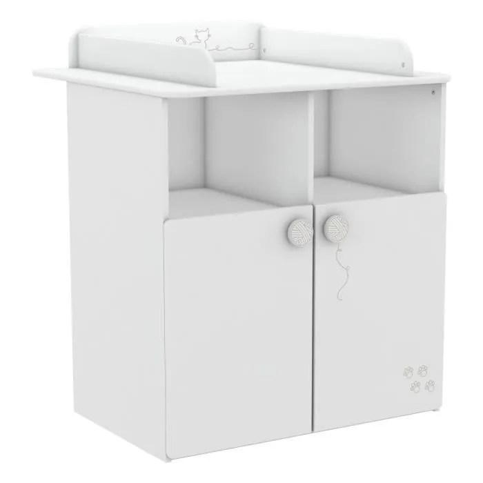 mistigris commode table a langer 70 x 55 cm blanc mat