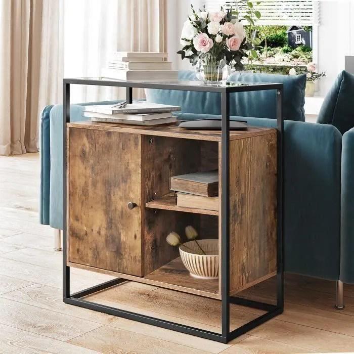 vasagle meuble de rangement style industriel 70 x
