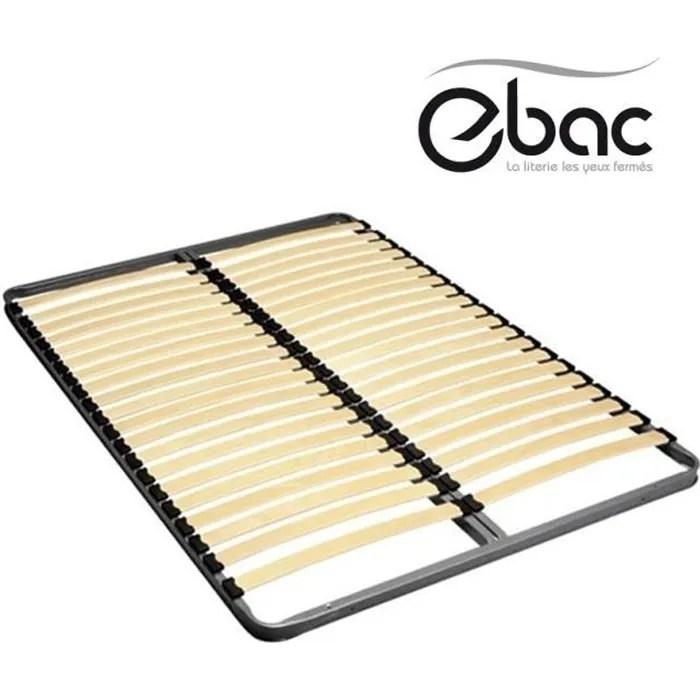 ebac 220 literie sommier cadre a lattres couchage double 140x190 20 lattes en bois double axe de renfort cadre metal epoxy gri