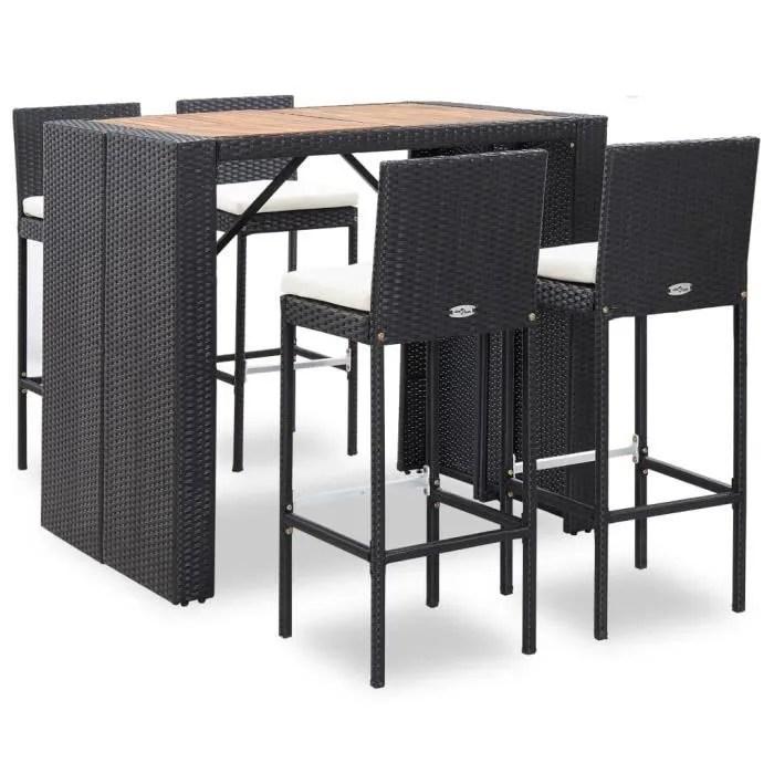 ensemble table de bar 4 tabourets bar mange debout table haute resine tressee et bois d acacia noir