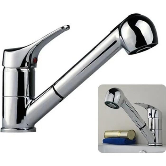 robinet mitigeur de cuisine avec douchette pivotant gris chrome
