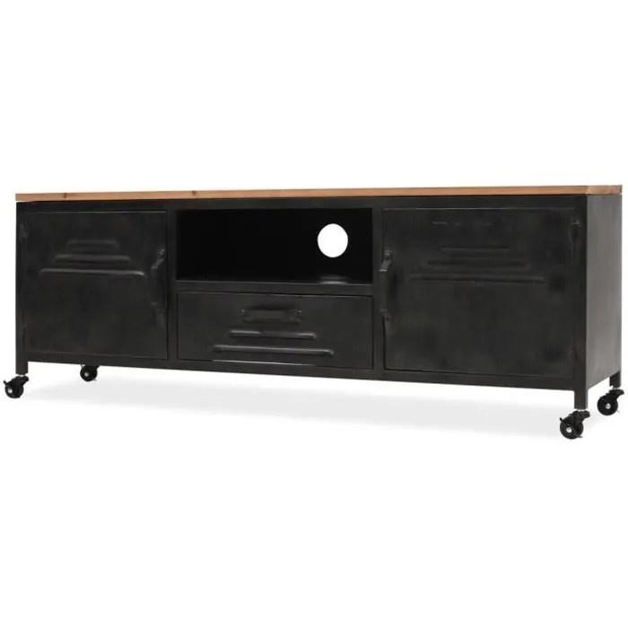 meuble tv industriel 1 tiroir 1 etagere 2 armoires