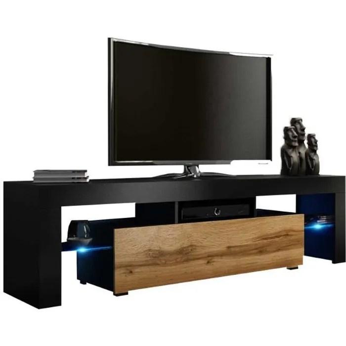 meuble tv 160 noir mat porte aspect chene wotan