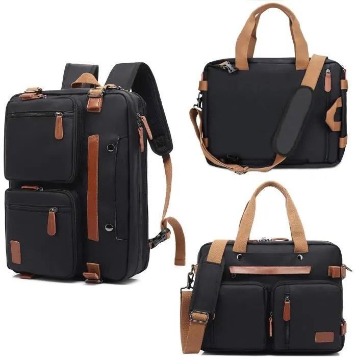 sacoche ordinateur portable 15 6 pouces sacoche bandouliere pour homme femme convertible toile cuir pu sac a dos vintage