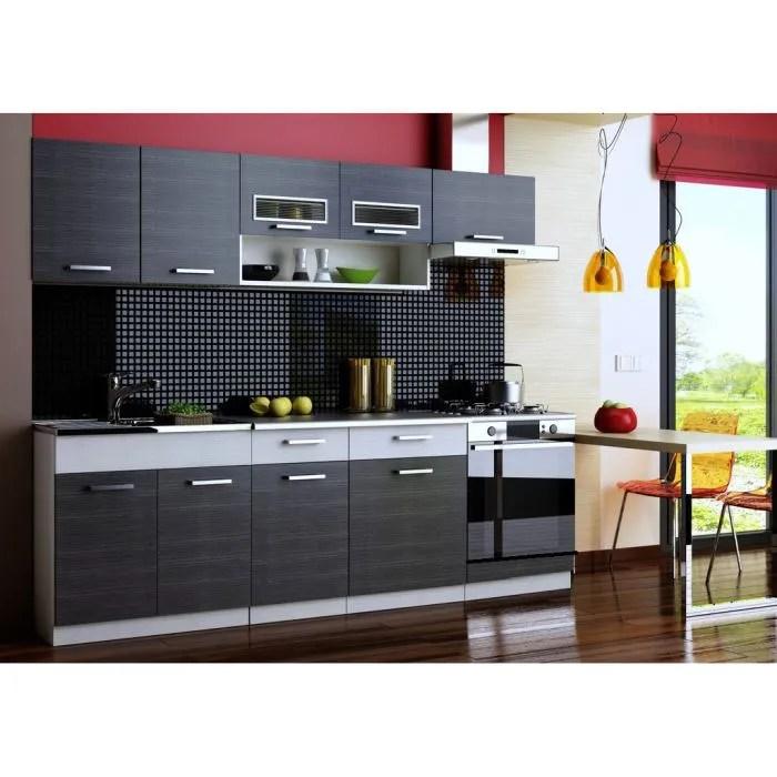 cuisine topaze noir chine gris 7 meubles 2m40