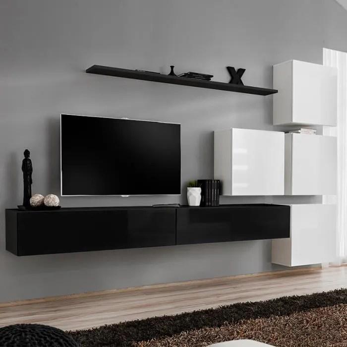 meuble tv suspendu noir et blanc rotello 2 blanc l