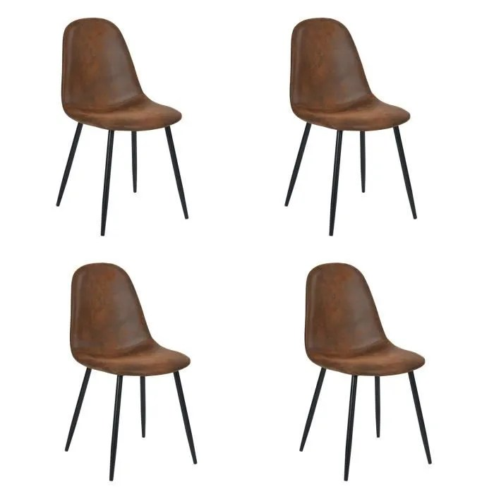 furnish1 lot de 4 chaises scandinave design tissu en daim marron pied metal noir salle a manger salon bureau chambre