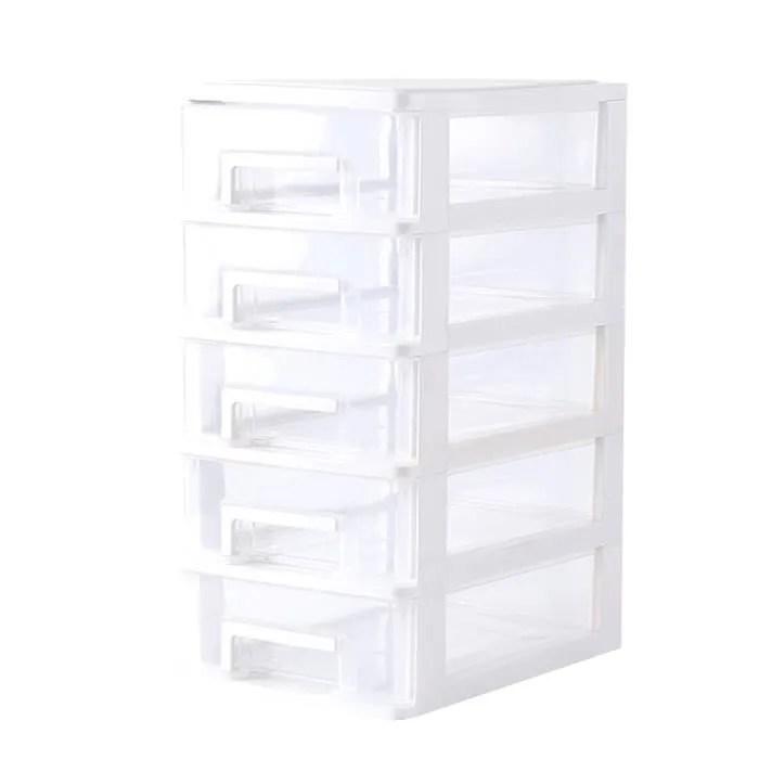 tour de rangement en plastique avec 5 tiroirs organiseur de bureau transparent pour bureau 15 21 31cm blanc