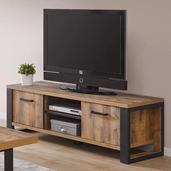banc tv industriel couleur bois fonce onnix marron