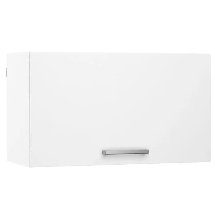meuble de cuisine haut sur hotte 1 porte coloris blanc dim l60 x p28 x h35 cm
