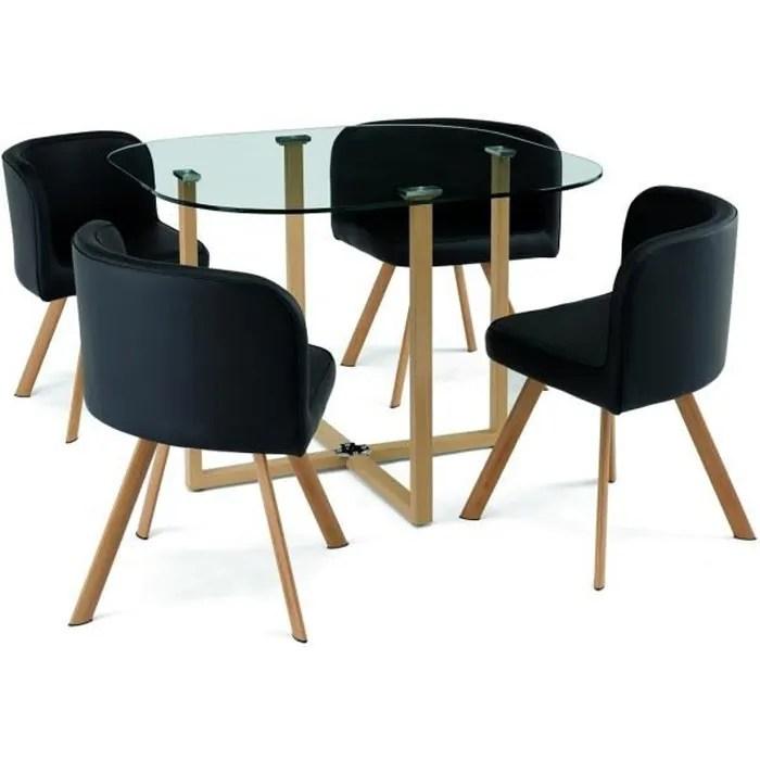 ensemble table 4 chaises encastrable noir flen