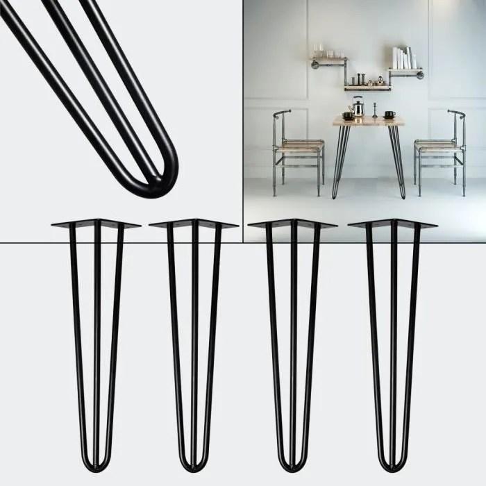 pieds de table support de table set 4 pcs hairpin legs pieds de table epingle a cheveux noir 71cm 60369
