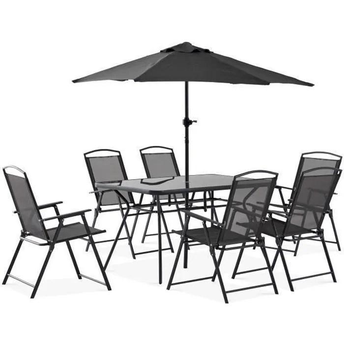 table de jardin 6 places et parasol