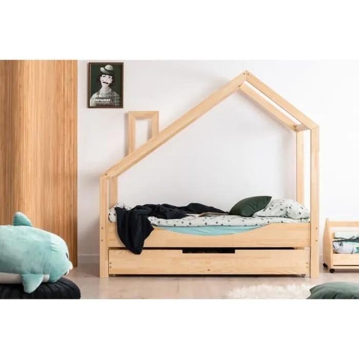 lit enfant 80 x 140 cm avec sommier et tiroir 2e couchage possible type cabane en bois naturel modele ne