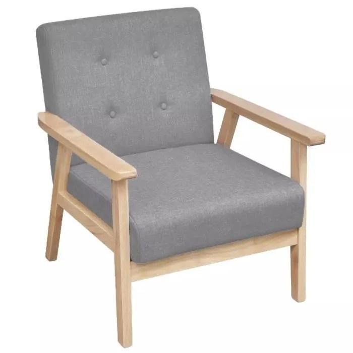 fauteuil tissu gris clair chaise salon sejour meub