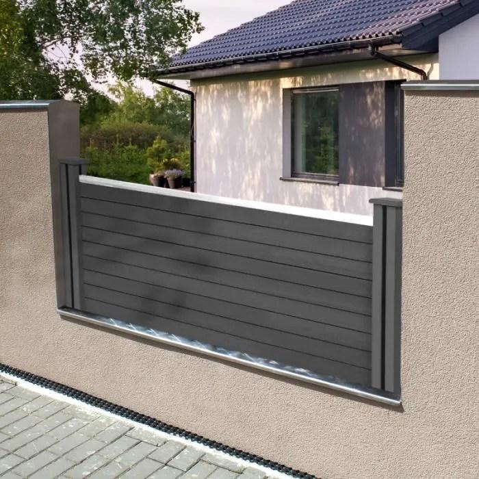 kit de depart panneau occultant rio en bois composite gris h 60 x l 160 cm