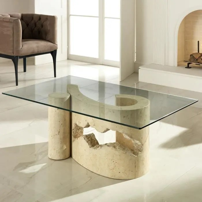 table basse de salon en verre et pierre