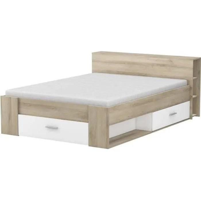 lit 140x190 avec tete de lit rangement