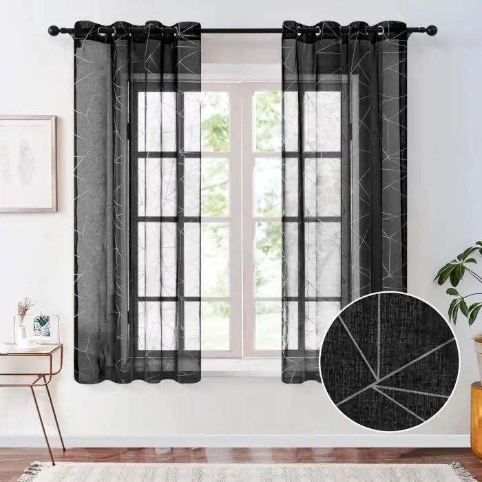 rideaux voilage noir 140x160cm 2 panneaux de