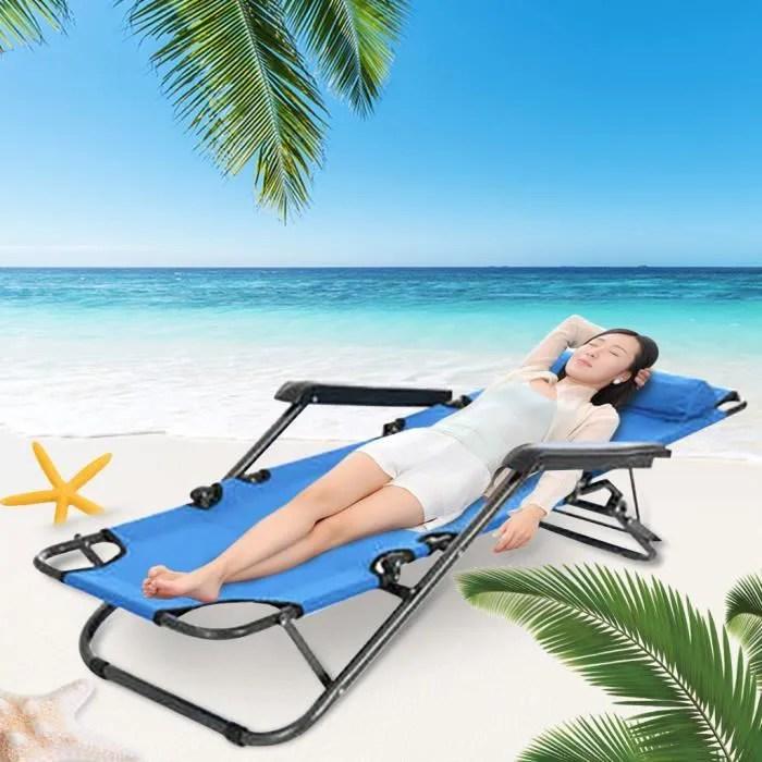 chaise longue pliante de plage inclinable et chais