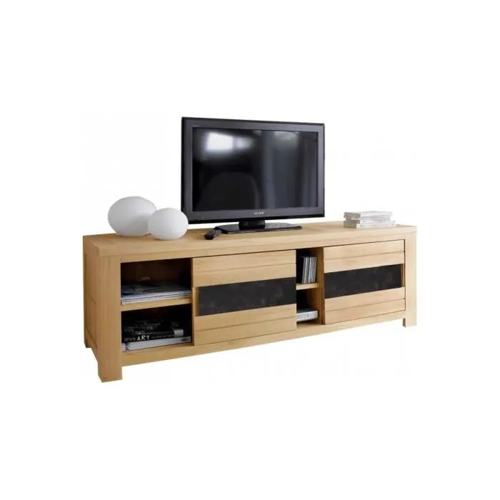 meuble tv portes coulissante chene