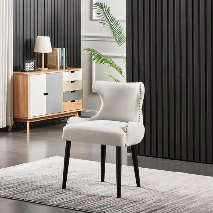 oxford chaise capitonnee velours beige style contemporain pieds en bois salle a manger cuisine ou coiffeuse