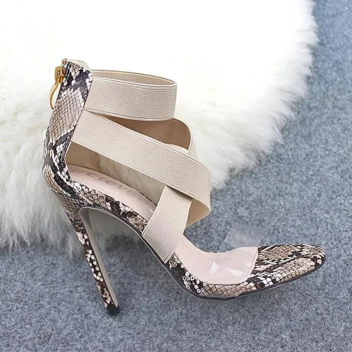 chaussures pour femmes imprime serpent transparent avec des talons hauts et des sandales pour femmes de taille ivoire
