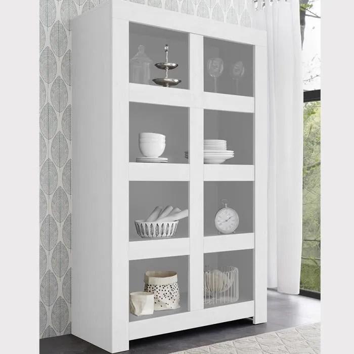 bibliotheque 110 cm design blanc laque agathe l 11